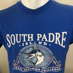 Men's Single Stitch T-shirt Large Blue South Padre